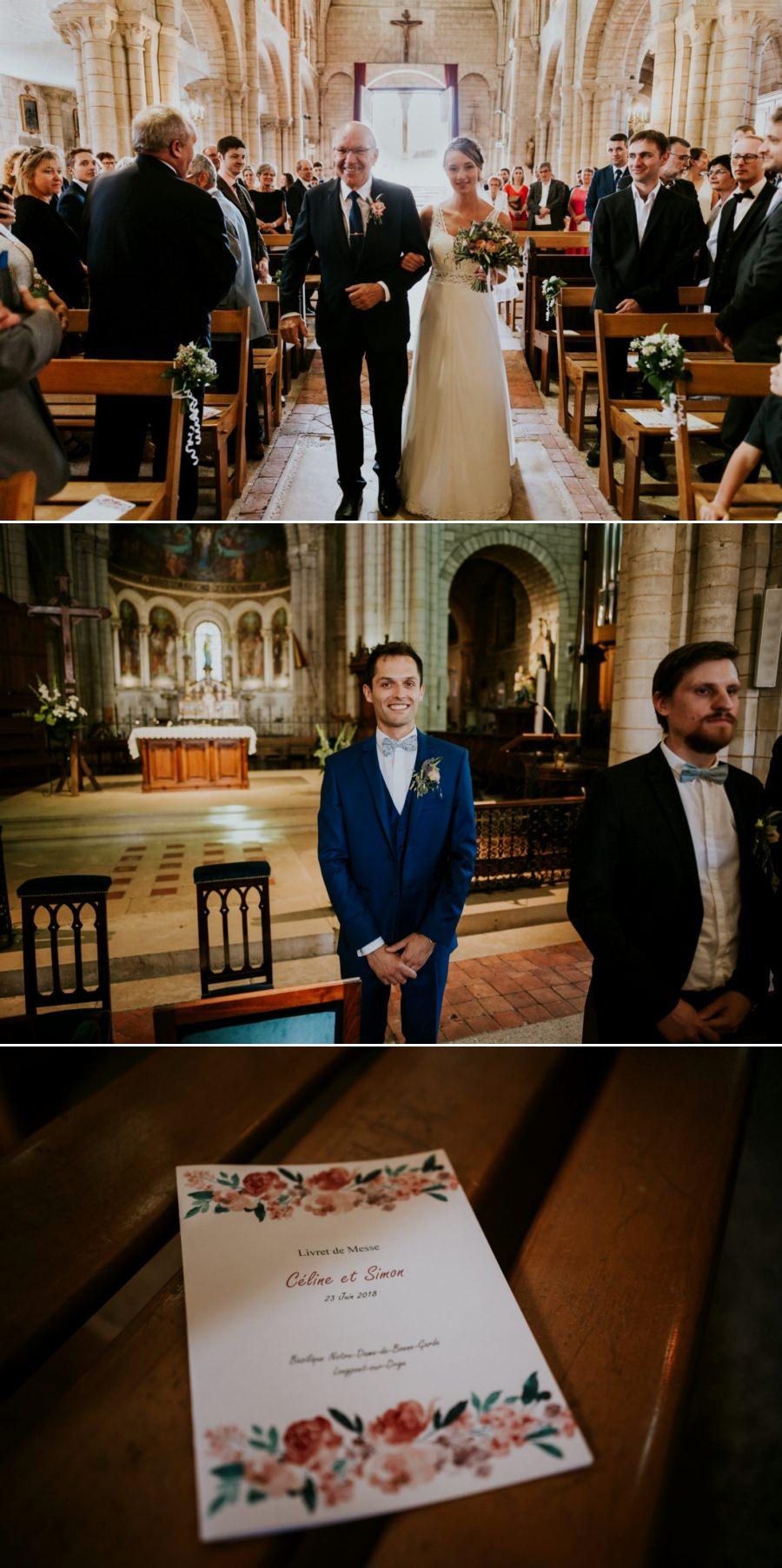 Entrée de la mariée durant la cérémonie religieuse - photographe de mariage Essonne
