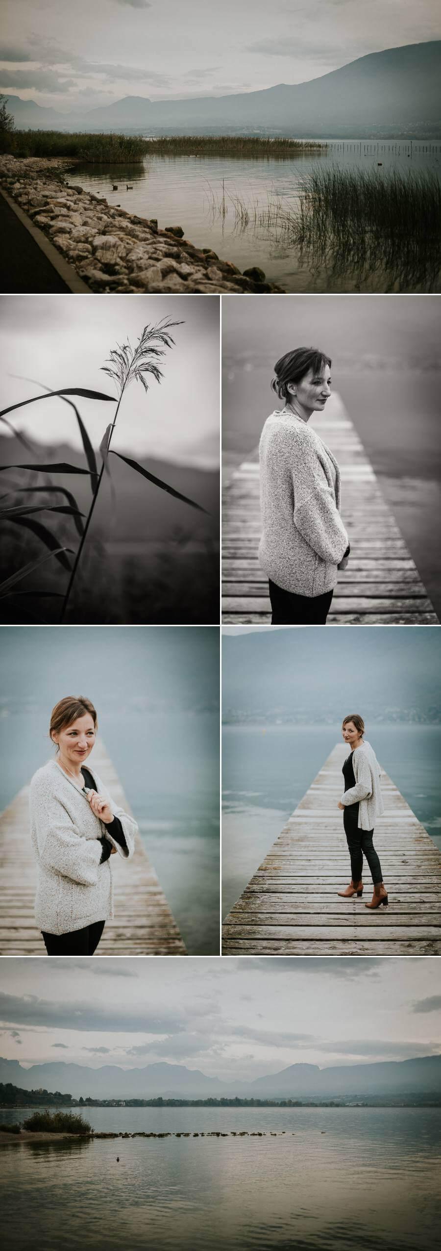 photographe lifestyle portrait femme sourire douceur naturel authentique lac du bourget dent du chat savoie nature noir et blanc