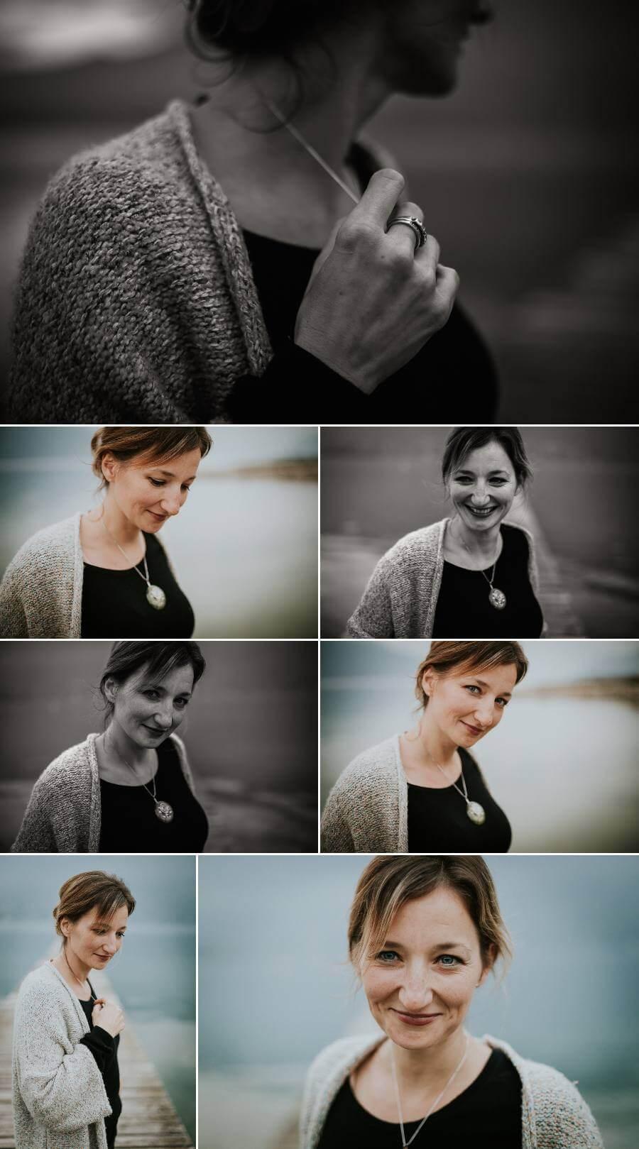 photographe lifestyle femme portrait noir et blanc sourire douceur naturel authentique lac du bourget dent du chat savoie