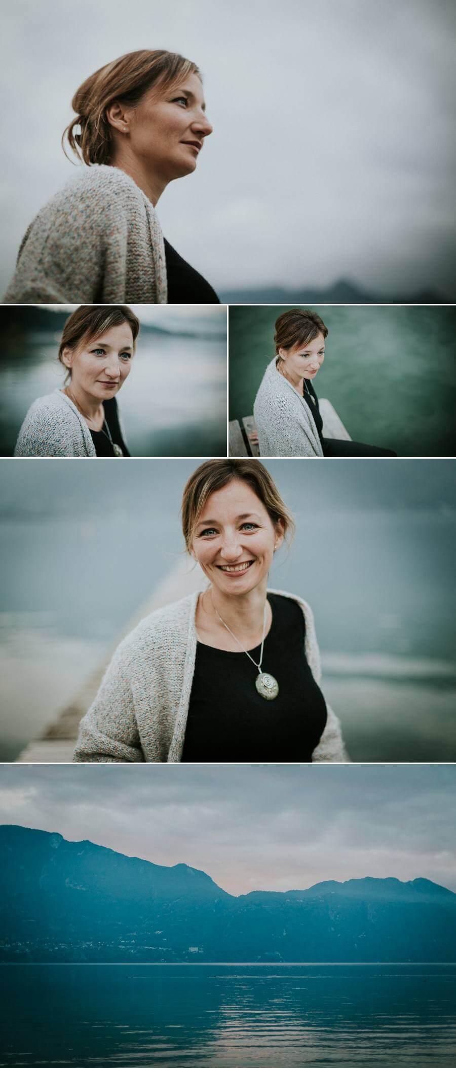 photographe lifestyle portrait femme sourire douceur naturel authentique lac du bourget dent du chat savoie