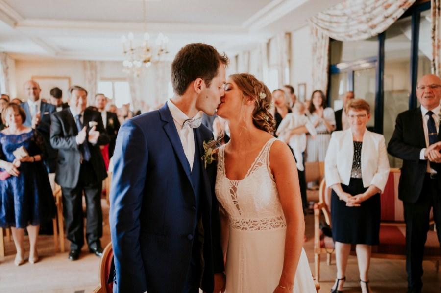 la premier baiser des mariés - reportage mariage Essonne