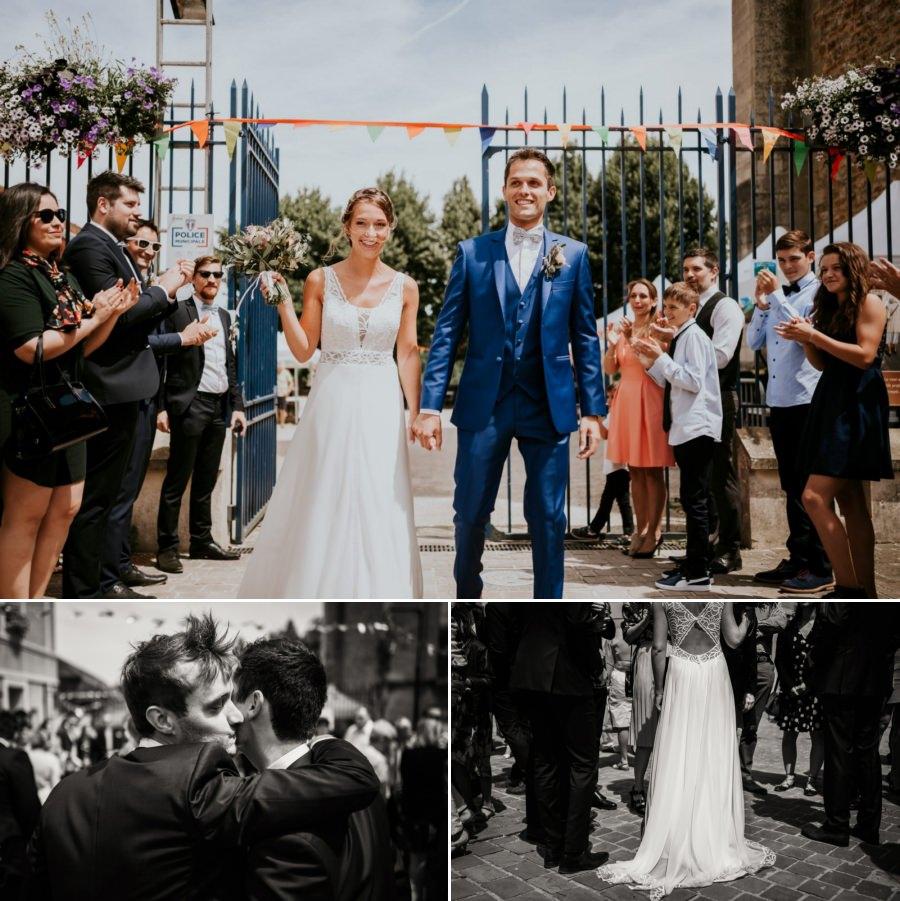 sortie des mariés lors de leur mariage - photographe mariage Essonne