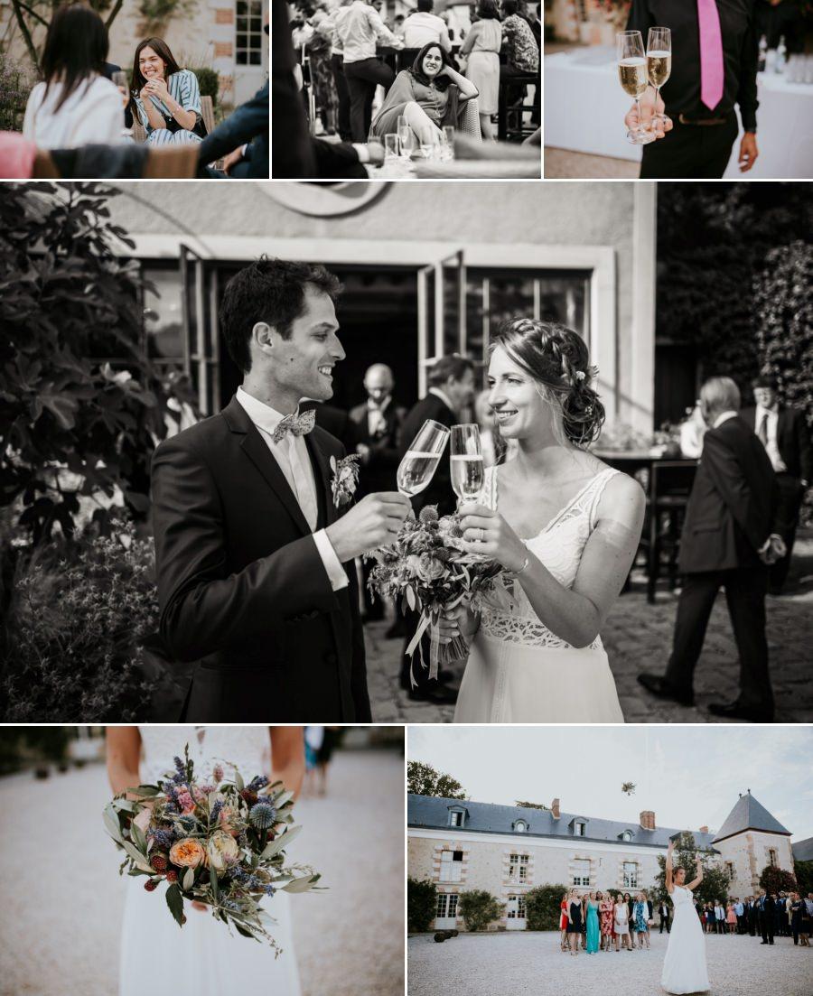 Lancer du bouquet de la mariée domaine de Quincampoix - photographe mariage Essonne