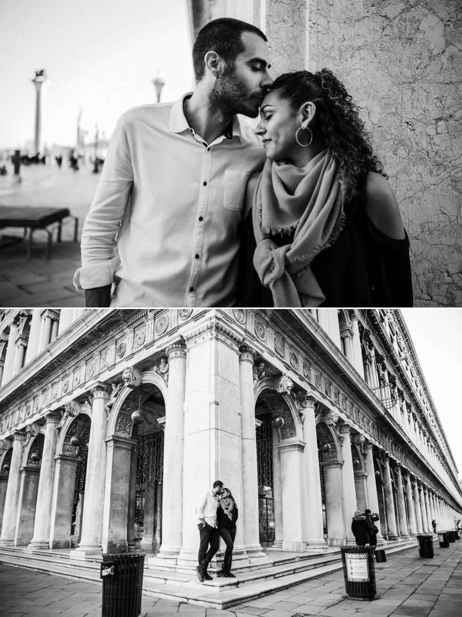 Un couple s'embrasse sur la place Saint-Marc à Venise | photographe mariage Chartres